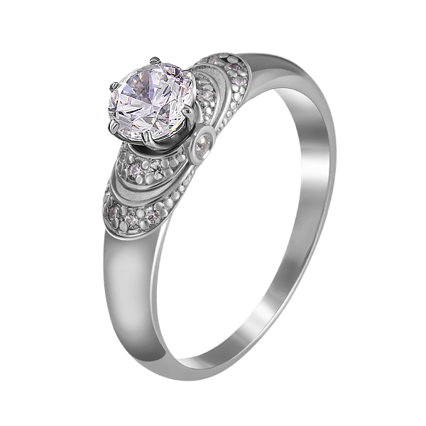 Каблучка для заручин з білого золота з діамантами і сапфірами