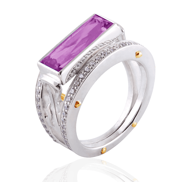 """Geometry"" with amethyst and diamonds"