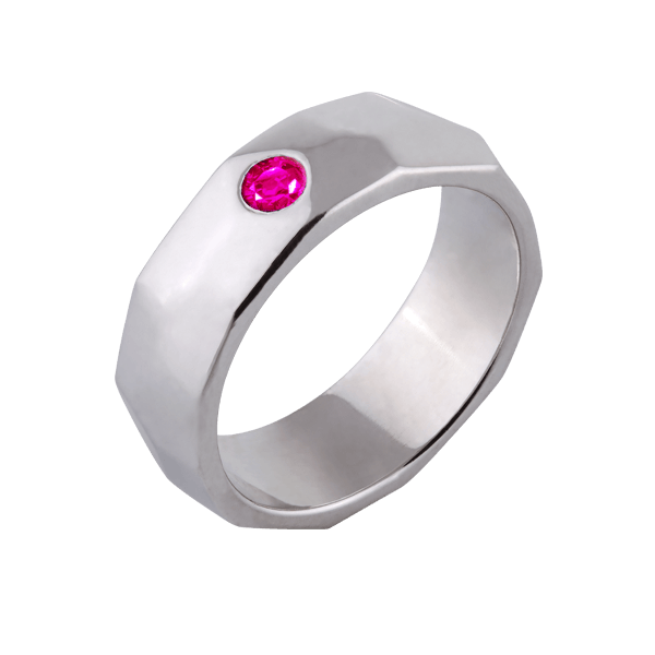 """Ocean"" with pink sapphire (woman's)"