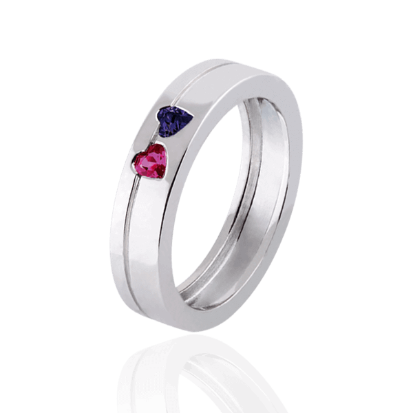 """Hearts"" with sapphire and ruby (woman"