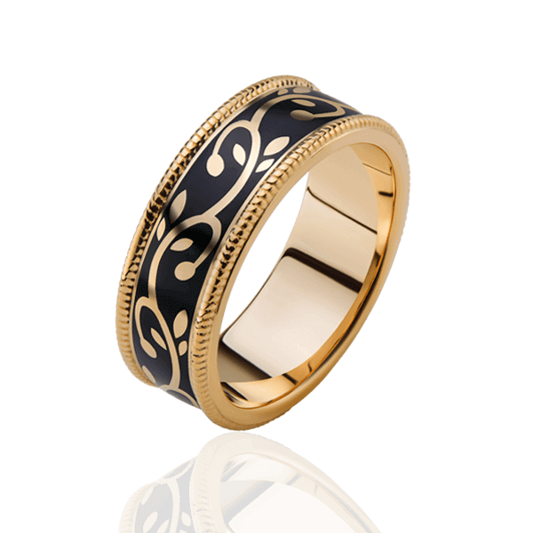 Wedding ring with enamel and diamonds