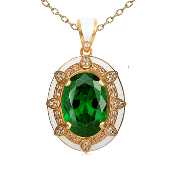 """Roksolana"" with green quartz and diamonds"