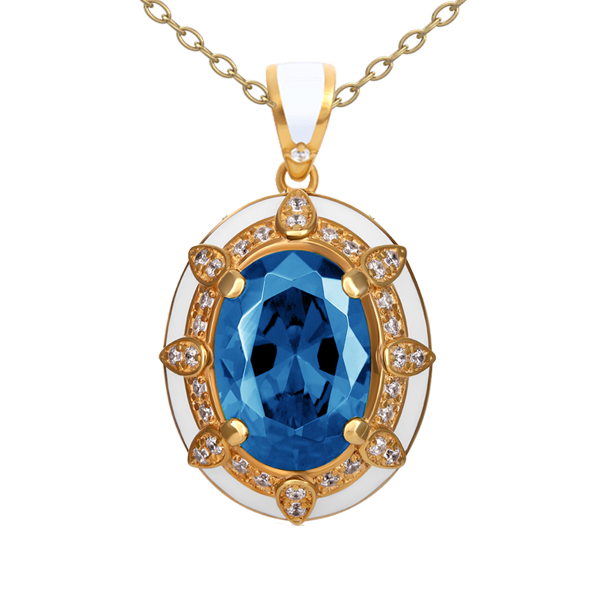 """Roksolana""  gold pendant with topaz and diamonds"