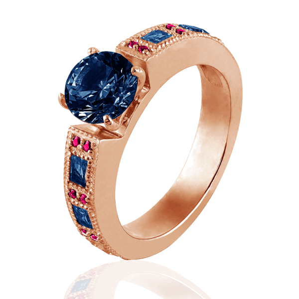 """Victoria"" of red gold with sapphires and rubies"