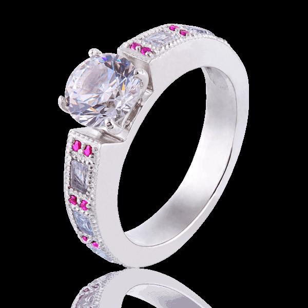 Каблучка для заручин з діамантами і рубінами