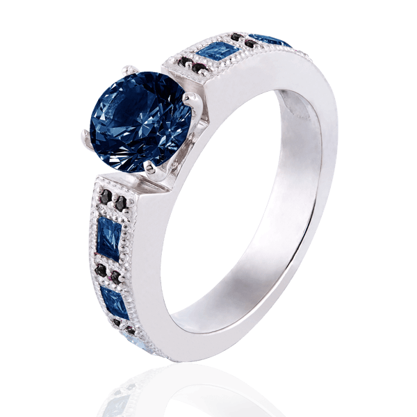 """Victoria"" with sapphires and black diamonds"