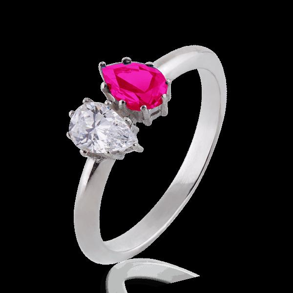 Каблучка для заручин з білого золота з діамантом і рубіном