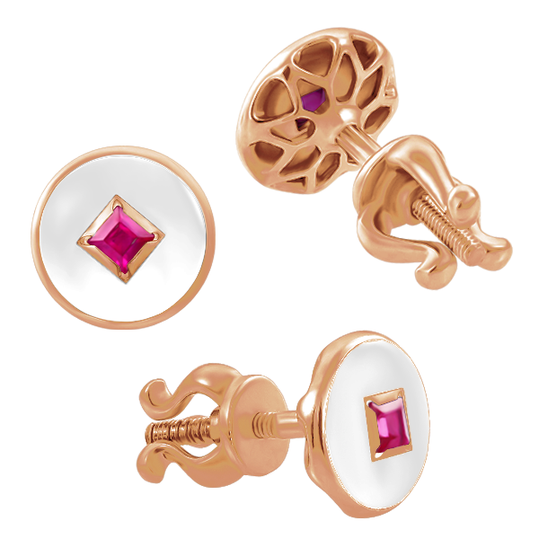 "Stud earrings ""Solomia"" with rubies"