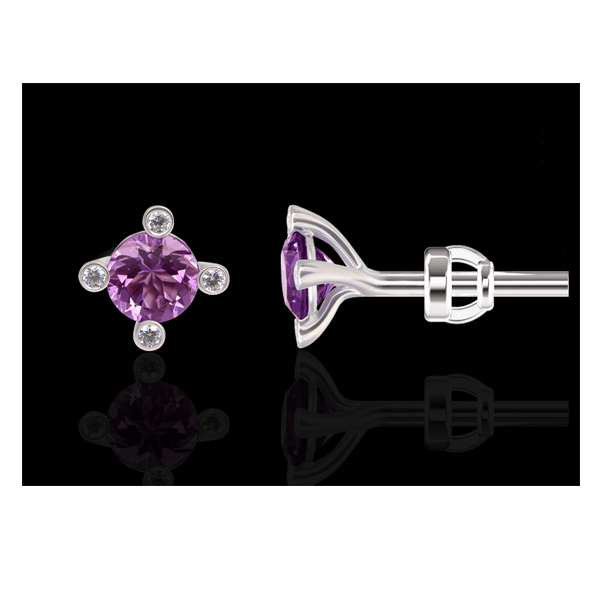 "Stud earrings ""Cassiopeia"" with an amethyst"