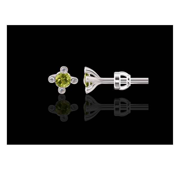 "Stud earrings ""Cassiopeia"" with chrysolites"