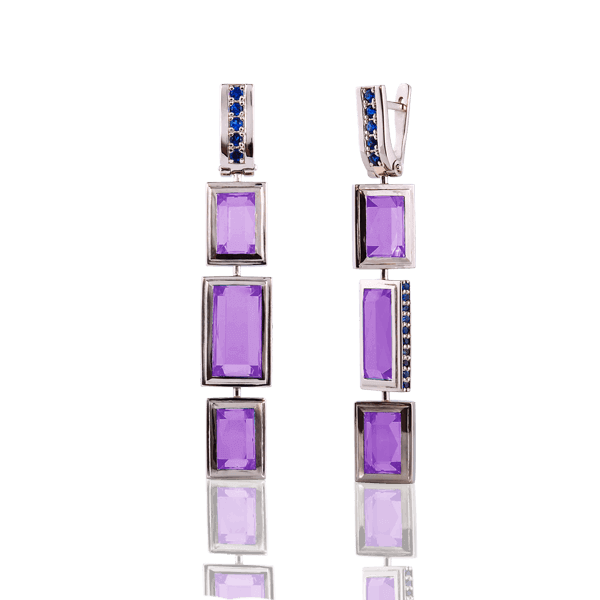 """Geometry"" with amethysts and sapphires"