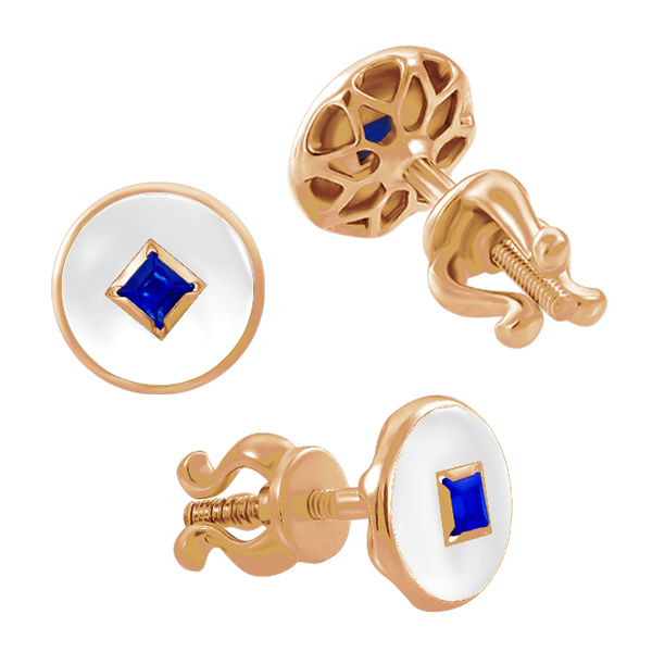 "Stud earrings ""Solomia"" with sapphires"